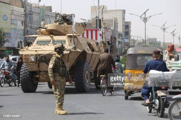 Taliban members take strict security measures following the recent demonstrations in different cities of Afghanistan against Pakistan and on the...