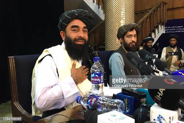 Taliban spokesperson, Zabihullah Mujahid attends the first press conference in Kabul on August 17 following their stunning takeover of Afghanistan.