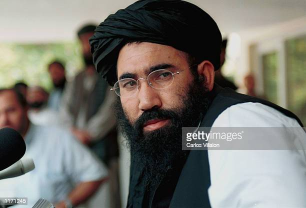 Taliban's Ambassador Abdul Salam Zaeef speaks to the press October 10 2001 in Islamabad Pakistan Zaeef denied reports that Taliban's air defences...