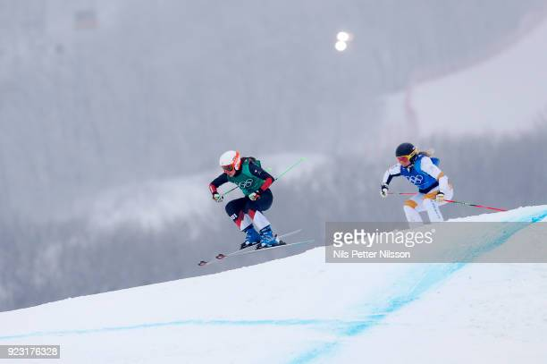 Talina Gantenbein of Switzerland and Lisa Andersson of Sweden during the women's Skicross Finals at Phoenix Snow Park on February 23 2018 in...
