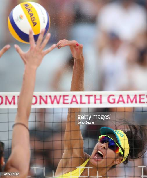 Taliqua Clancy of Australia competes during the Beach Volleyball women Preliminary - Pool A match between Mariafe Artacho del Solar and Taliqua...
