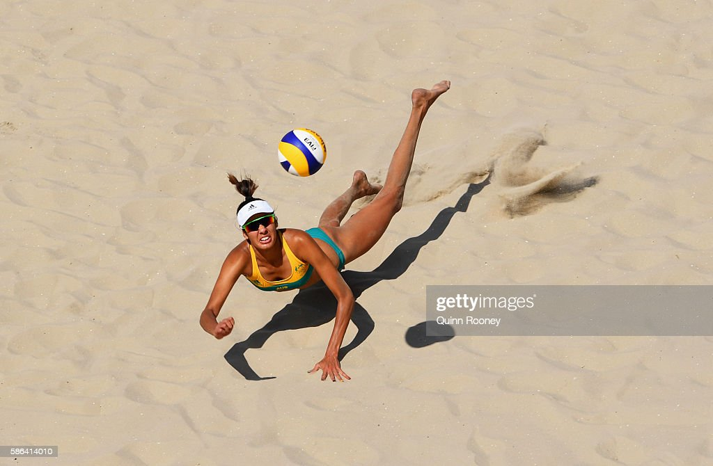 Taliqua Clancy of Australia dives for the ball during the Women's Beach Volleyball preliminary round Pool F match against Natalia Alfaro and Karen Cope Charles of Costa Rica on Day 1 of the Rio 2016 Olympic Games at the Beach Volleyball Arena on August 6, 2016 in Rio de Janeiro, Brazil.