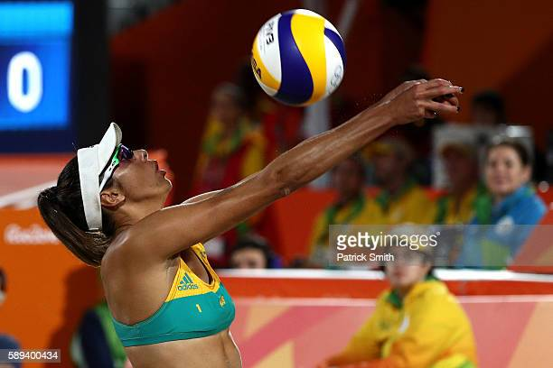 Taliqua Clancy of Australia plays a shot during a Women's Round of 16 match between Poland and Australia on Day 8 of the Rio 2016 Olympic Games at...