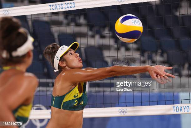 Taliqua Clancy of Team Australia competes against Team Canada during the Women's Quarterfinal beach volleyball on day eleven of the Tokyo 2020...
