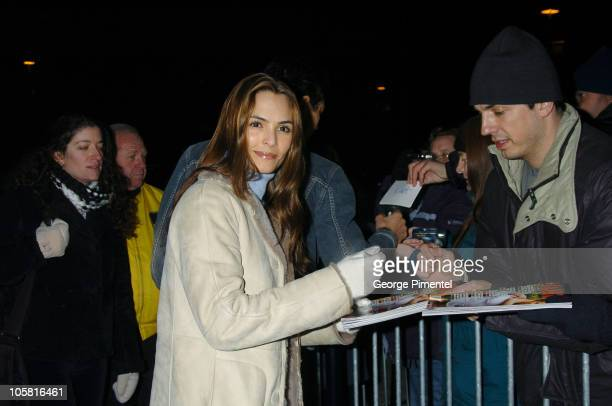 Talisa Soto and fans during 2004 Sundance Film Festival The Machinist Premiere at Eccles in Park City Utah United States