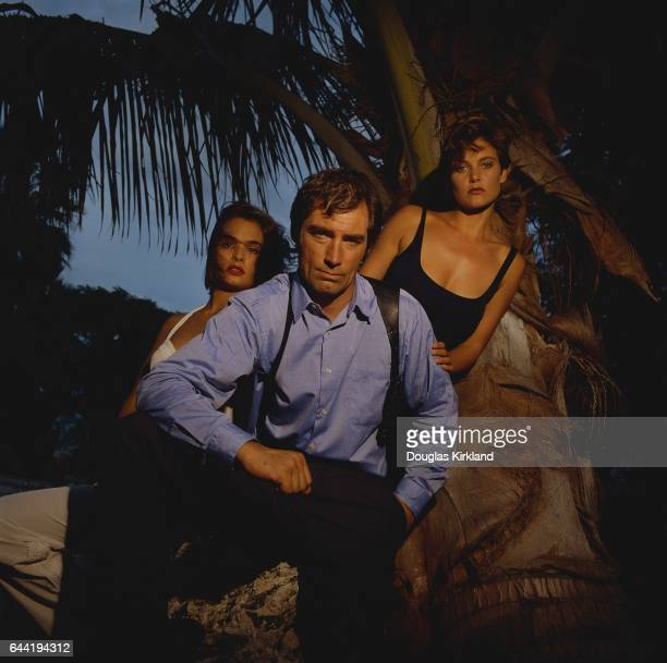 Talisa Soto as Lupe Lemora Timothy Dalton as James Bond Agent 007 and Carey Lowell as Pam Bouvier in the 1989 film Licence to Kill
