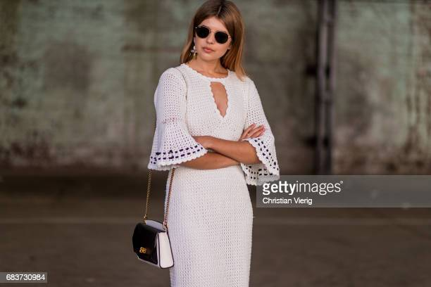 Talisa Sutton wearing a white dress heels at day 3 during MercedesBenz Fashion Week Resort 18 Collections at Carriageworks on May 16 2017 in Sydney...