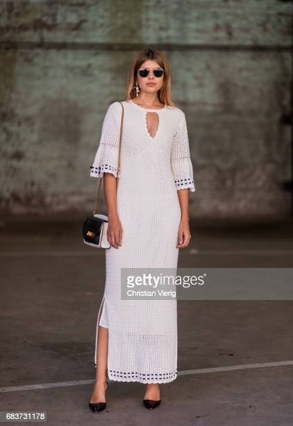 Talisa Sutton wearing a white dress, heels at day 3 during Mercedes-Benz Fashion Week Resort 18 Collections at Carriageworks on May 16, 2017 in...