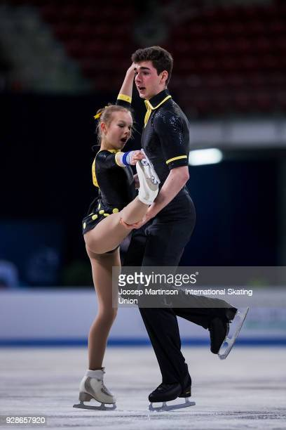 Talisa Thomalla and Robert Kunkel of Germany compete in the Junior Pairs Short Program during the World Junior Figure Skating Championships at Arena...