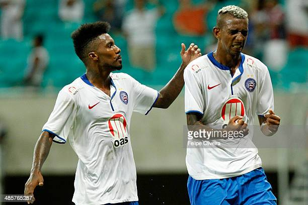 Talisca of Bahia celebrates his goal during the match between Bahia v Cruzeiro as part of Brasileirao Series A 2014 at Arena Fonte Nova Stadium on...