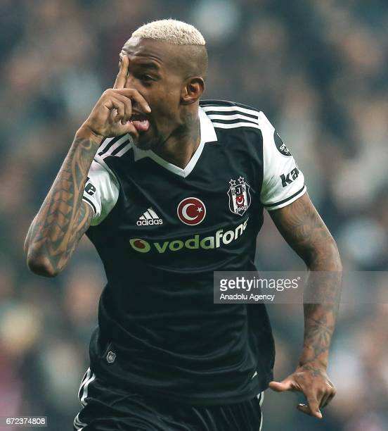 Talisca of Besiktas celebrates after scoring a goal during the Turkish Spor Toto Super Lig football match between Besiktas and Adanaspor at Vodafone...