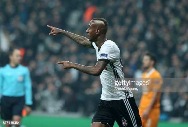 Talisca of Besiktas celebrates after scoring a goal during the UEFA Champions League Group G soccer match between Besiktas and Porto at the Vodafone...