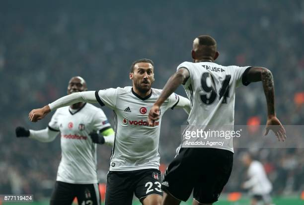 Talisca of Besiktas celebrates his goal with Cenk Tosun during the UEFA Champions League Group G soccer match between Besiktas and Porto at the...