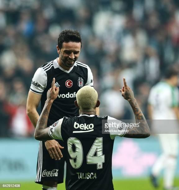 Talisca of Besiktas celebrates his goal with Gokhan Gonul during the Turkish Spor Toto Super Lig football match between Besiktas and Akhisar...
