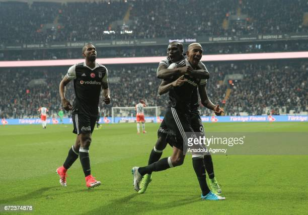 Talisca of Besiktas celebrates his score with his team mates during the Turkish Spor Toto Super Lig football match between Besiktas and Adanaspor at...