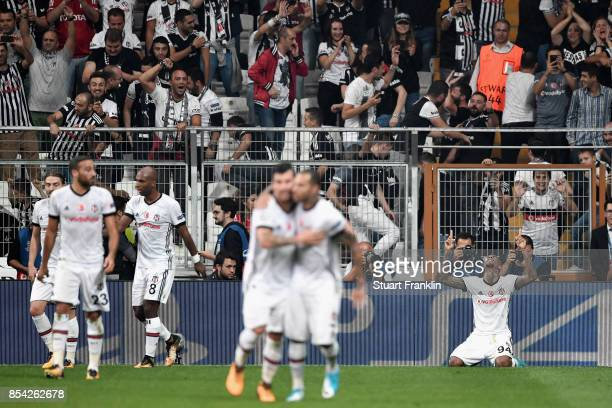 Talisca of Besiktas celebrates scoring his sides second goal during the UEFA Champions League Group G match between Besiktas and RB Leipzig at...