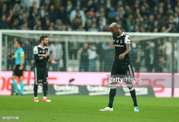 Talisca of Besiktas reacts after Adanaspor scored a goal during the Turkish Spor Toto Super Lig football match between Besiktas and Adanaspor at...