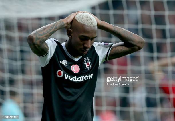 Talisca of Besiktas reacts during the UEFA Europa League quarter final second match between Besiktas and Olympique Lyonnais at Vodafone Arena in...