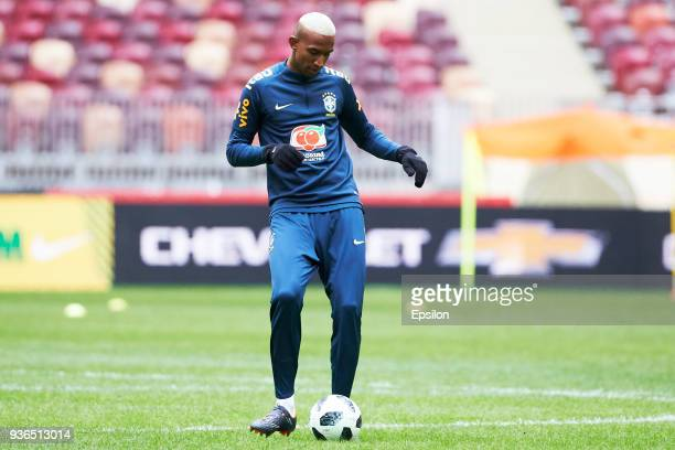 Talisca of Brazil attends a training session ahead of a friendly match between Russia and Brazil at Luzhniki Stadium on March 22 2018 in Moscow Russia