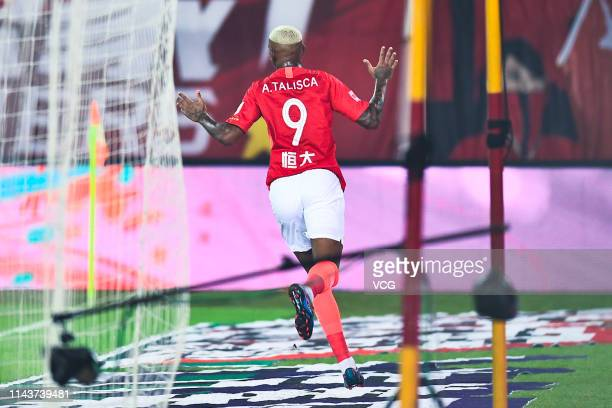 Talisca of Guangzhou Evergrande celebrates after scoring a goal during the sixth round match of 2019 Chinese Football Association Super League...