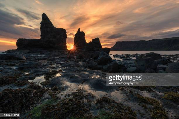 talisker beach with beautiful twilight time at isle of skye, uk. - isolated color stock pictures, royalty-free photos & images