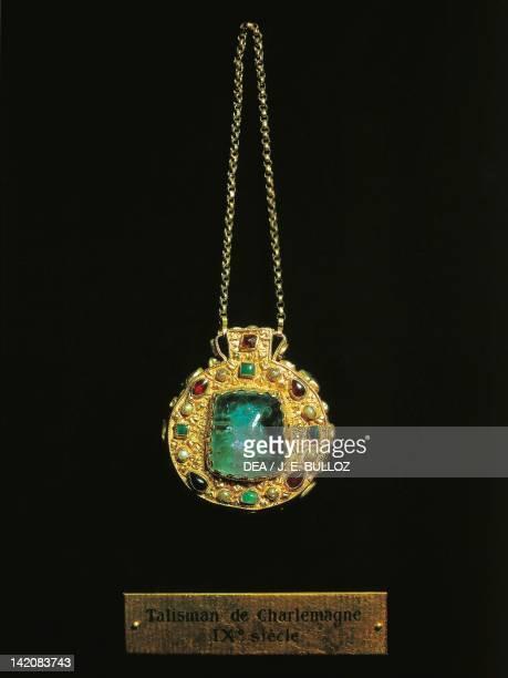Talisman belonged to Charlemagne pendant with precious stones Carolingian civilization 9th century