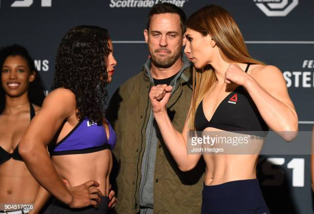 Talita Bernardo of Brazil and Irene Aldana of Mexico face off during the UFC Fight Night weighin on January 13 2018 in St Louis Missouri