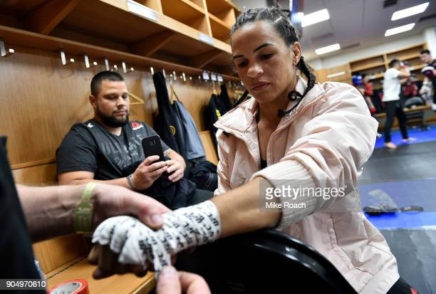 Talita Bernardo of Brazil gets her hands wrapped backstage during the UFC Fight Night event inside the Scottrade Center on January 14 2018 in St...