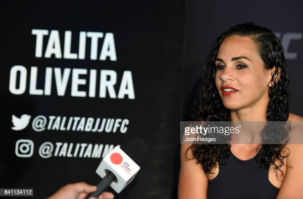 Talita Bernardo of Brazil interacts with media during the UFC Ultimate Media Day at the Inntel Rotterdam Centre Hotel on August 31 2017 in Rotterdam...