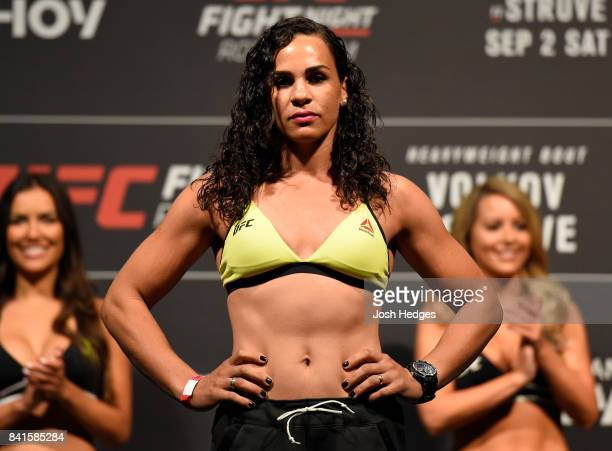 Talita Bernardo of Brazil poses on the scale during the UFC Fight Night Weighin at the Rotterdam Ahoy on September 1 2017 in Rotterdam Netherlands