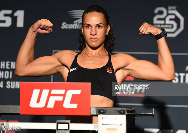 Talita Bernardo of Brazil poses on the scale during the UFC Fight Night weighin on January 13 2018 in St Louis Missouri