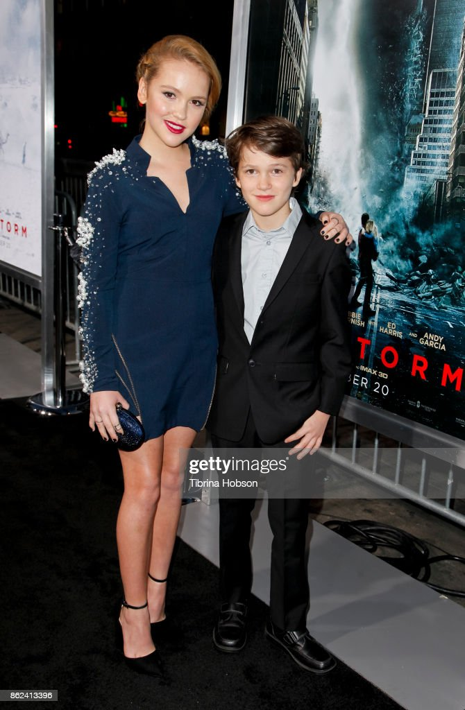 Talitha Bateman and Gabriel Bateman attend the premiere of Warner Bros. Pictures 'Geostorm' at TCL Chinese Theatre on October 16, 2017 in Hollywood, California.