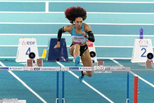 Taliyah Brooks compete during women's 60m hurdles during the World Athletics Indoor Tour at Arena Stade Couvert on February 9, 2021 in Lievin, France.