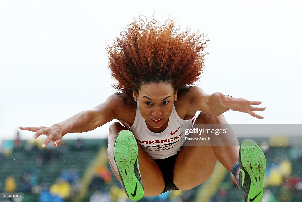 Taliyah Brooks competes in the Women's Heptathlon Long Jump during the 2016 U.S. Olympic Track & Field Team Trials at Hayward Field on July 10, 2016 in Eugene, Oregon.