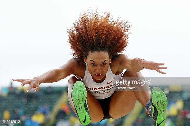 Taliyah Brooks competes in the Women's Heptathlon Long Jump during the 2016 US Olympic Track Field Team Trials at Hayward Field on July 10 2016 in...