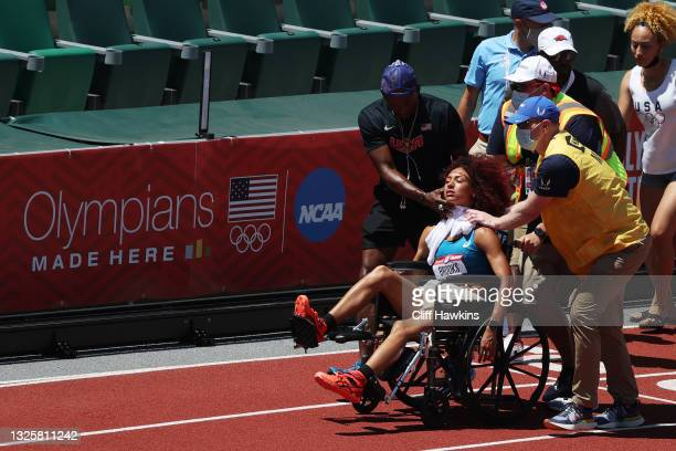 Taliyah Brooks is taken off of the track after collapsing ahead of the Women's Heptathlon Javelin during day ten of the 2020 U.S. Olympic Track &...