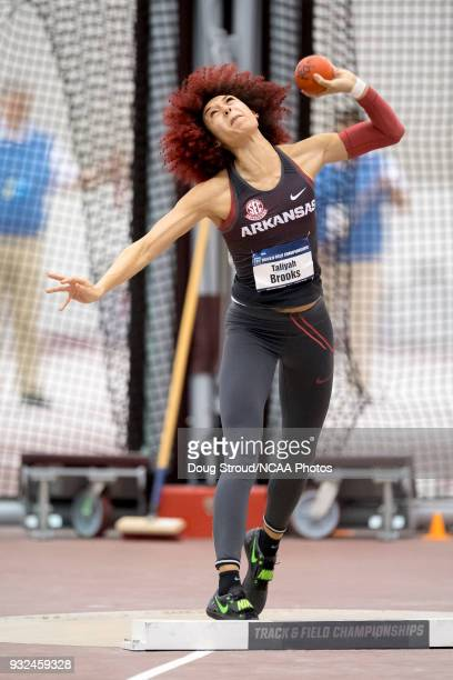 Taliyah Brooks of the University of Arkansas competes in the Shot Put portion of the Women's Pentathlon during the Division I Men's and Women's...