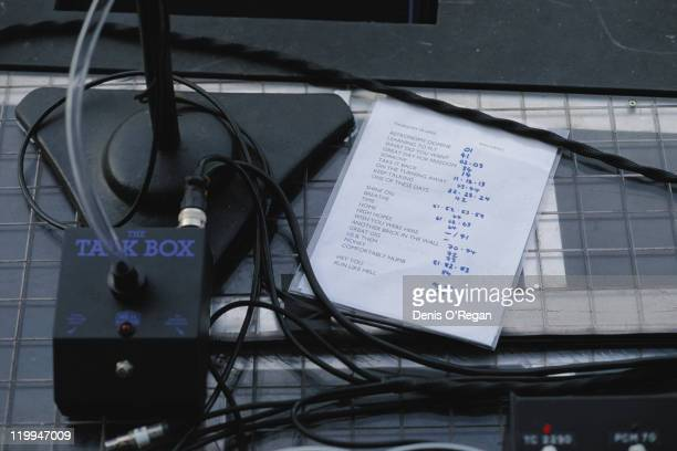 A talk box effects unit and a set list on the stage before a Pink Floyd concert at the Jack Murphy Stadium San Diego California during the band's...
