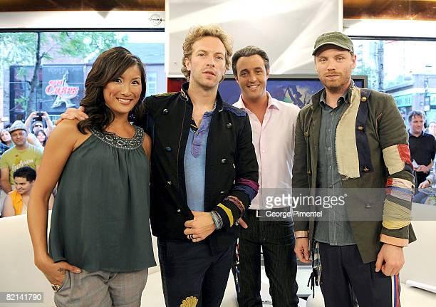 E Talk host Tanya Kim vocalist Chris Martin and guitarist Jonny Buckland of Coldplay and E Talk Host Ben Mulroney visit E Talk Studios at the...