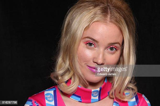 Talk reporter Liz Trinnear poses backstage during the Hayey Elsaesser fashion show at David Pecaut Square on March 17 2016 in Toronto Canada