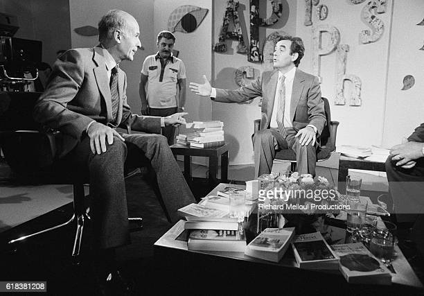 Talk show host Bernard Pivot interviews French President Valery Giscard d'Estaing on the television show Apostrophes During the interview the...