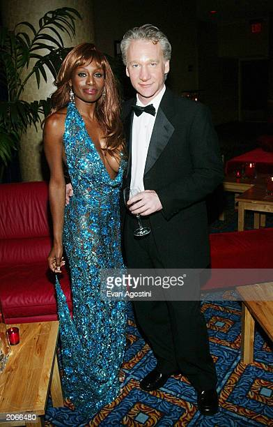 Talk show host Bill Maher and date Coco Johnsen attend the 2003 Tony Awards Dinner and Afterparty at the Marriott Marquis Hotel June 8 2003 in New...