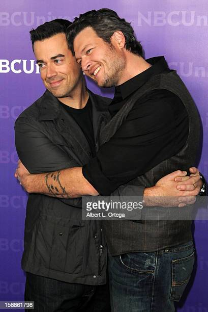 Talk show host Carson Daly and Country musician Blake Shelton participate in the NBC Universal Winter Tour AllStar Party held at The Athenaeum on...