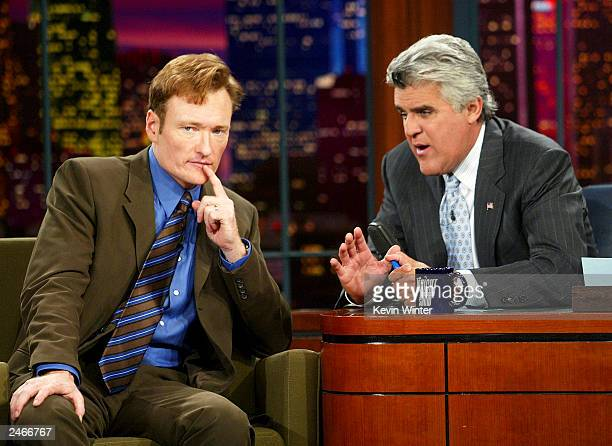 Talk show host Conan O'Brien appears on The Tonight Show with Jay Leno at the NBC Studios on September 5 2003 in Burbank California