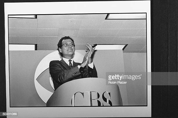 Talk show host David Letterman applauding while announcing his move fr NBC to CBS at press conf at CBS where his show will air against NBC's The...
