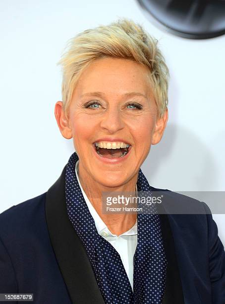 Talk show host Ellen DeGeneres arrives at the 64th Annual Primetime Emmy Awards at Nokia Theatre LA Live on September 23 2012 in Los Angeles...