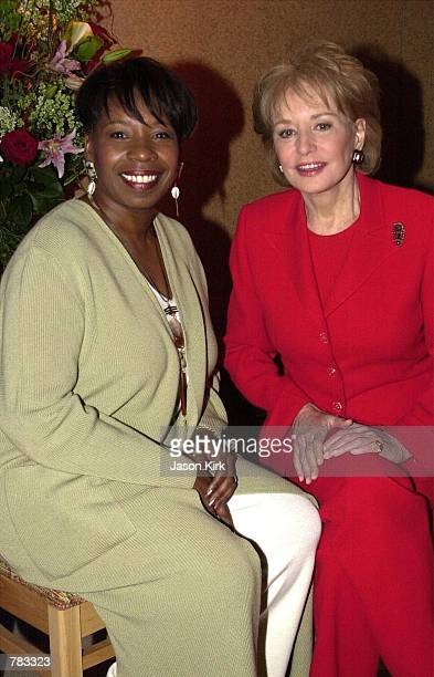 Talk show host Iyanla Vanzant and Barbara Walters attend The National Association of Television Program Executives Conference January 23 2001 in Las...