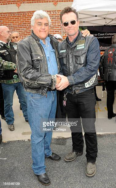 Talk show host Jay Leno and actor Robert Patrick participates in Love Ride 29 With Jay Leno Benefiting The USO held at Harley-Davidson Gendale on...