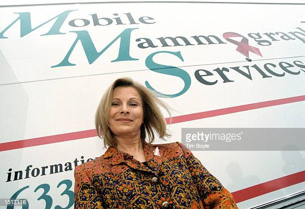 Talk show host Jenny Jones poses for a photographer in front of a Mobile Mammography Services van May 17 2000 in Chicago IL Jones a longtime advocate...