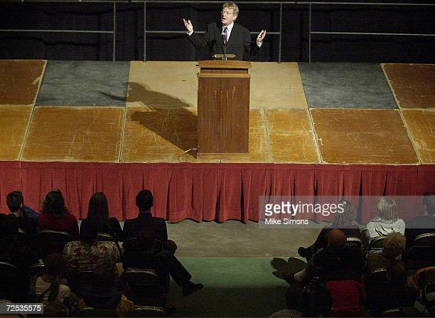Talk show host Jerry Springer speaks out against the threatened war on Iraq during a speech at Miami University February 13, 2003 in Oxford, Ohio....